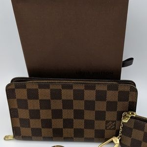 AUTHENTIC LV Damier Ebene Porte Monnaie Zip Wallet